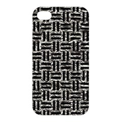 Woven1 Black Marble & Silver Foil Apple Iphone 4/4s Premium Hardshell Case by trendistuff