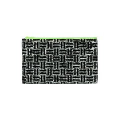 Woven1 Black Marble & Silver Foil Cosmetic Bag (xs) by trendistuff