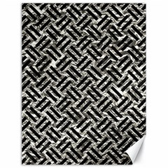 Woven2 Black Marble & Silver Foil Canvas 18  X 24   by trendistuff
