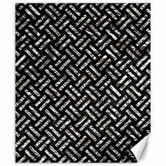Woven2 Black Marble & Silver Foil (r) Canvas 20  X 24   by trendistuff