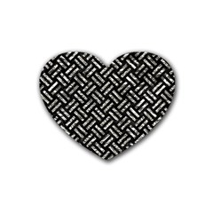 Woven2 Black Marble & Silver Foil (r) Rubber Coaster (heart)  by trendistuff