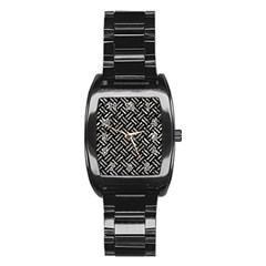 Woven2 Black Marble & Silver Foil (r) Stainless Steel Barrel Watch by trendistuff