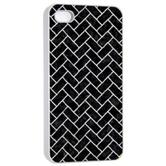 Brick2 Black Marble & Silver Glitter (r) Apple Iphone 4/4s Seamless Case (white) by trendistuff