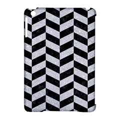 Chevron1 Black Marble & Silver Glitter Apple Ipad Mini Hardshell Case (compatible With Smart Cover) by trendistuff