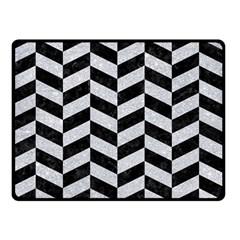 Chevron1 Black Marble & Silver Glitter Double Sided Fleece Blanket (small)  by trendistuff