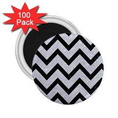 Chevron9 Black Marble & Silver Glitter 2 25  Magnets (100 Pack)  by trendistuff