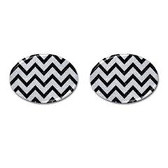 Chevron9 Black Marble & Silver Glitter Cufflinks (oval) by trendistuff