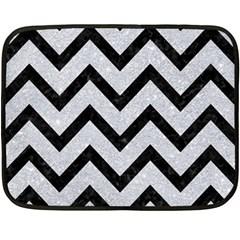 Chevron9 Black Marble & Silver Glitter Double Sided Fleece Blanket (mini)  by trendistuff