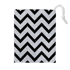 Chevron9 Black Marble & Silver Glitter Drawstring Pouches (extra Large) by trendistuff