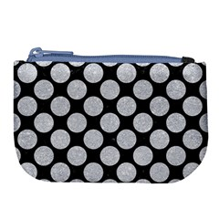 Circles2 Black Marble & Silver Glitter (r) Large Coin Purse by trendistuff