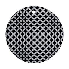 Circles3 Black Marble & Silver Glitter (r) Ornament (round) by trendistuff