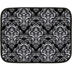Damask1 Black Marble & Silver Glitter (r) Fleece Blanket (mini) by trendistuff