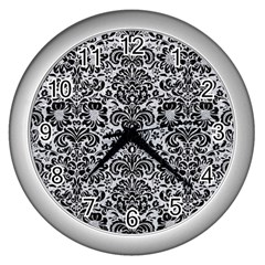 Damask2 Black Marble & Silver Glitter Wall Clocks (silver)  by trendistuff