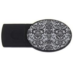 Damask2 Black Marble & Silver Glitter Usb Flash Drive Oval (2 Gb) by trendistuff