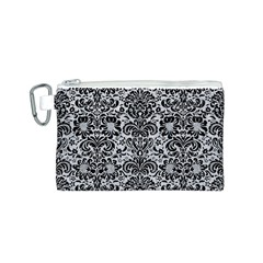 Damask2 Black Marble & Silver Glitter Canvas Cosmetic Bag (s) by trendistuff