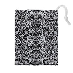Damask2 Black Marble & Silver Glitter Drawstring Pouches (extra Large) by trendistuff