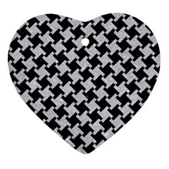 Houndstooth2 Black Marble & Silver Glitter Heart Ornament (two Sides) by trendistuff