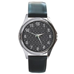 Hexagon1 Black Marble & Silver Glitter (r) Round Metal Watch by trendistuff