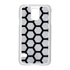 Hexagon2 Black Marble & Silver Glitter Samsung Galaxy S5 Case (white) by trendistuff