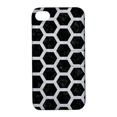 Hexagon2 Black Marble & Silver Glitter (r) Apple Iphone 4/4s Hardshell Case With Stand by trendistuff