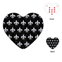 Royal1 Black Marble & Silver Glitter Playing Cards (heart)  by trendistuff