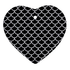 Scales1 Black Marble & Silver Glitter (r) Heart Ornament (two Sides) by trendistuff