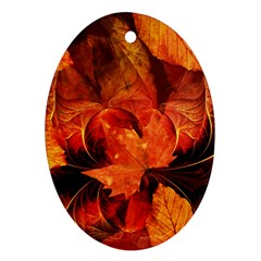 Ablaze With Beautiful Fractal Fall Colors Ornament (oval) by jayaprime
