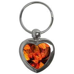 Ablaze With Beautiful Fractal Fall Colors Key Chains (heart)  by jayaprime