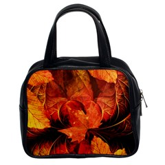 Ablaze With Beautiful Fractal Fall Colors Classic Handbags (2 Sides) by beautifulfractals