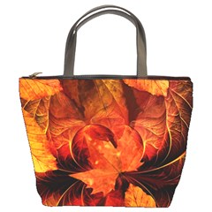 Ablaze With Beautiful Fractal Fall Colors Bucket Bags by beautifulfractals