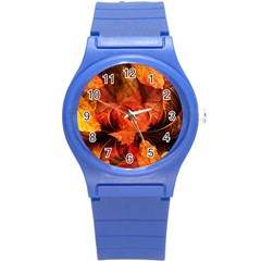 Ablaze With Beautiful Fractal Fall Colors Round Plastic Sport Watch (s) by beautifulfractals