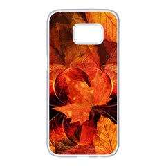 Ablaze With Beautiful Fractal Fall Colors Samsung Galaxy S7 Edge White Seamless Case by beautifulfractals