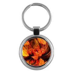 Ablaze With Beautiful Fractal Fall Colors Key Chains (round)  by beautifulfractals