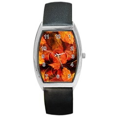 Ablaze With Beautiful Fractal Fall Colors Barrel Style Metal Watch by beautifulfractals