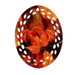Ablaze With Beautiful Fractal Fall Colors Ornament (oval Filigree) by beautifulfractals