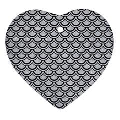 Scales2 Black Marble & Silver Glitter Ornament (heart) by trendistuff