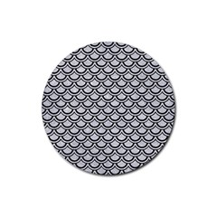 Scales2 Black Marble & Silver Glitter Rubber Round Coaster (4 Pack)  by trendistuff