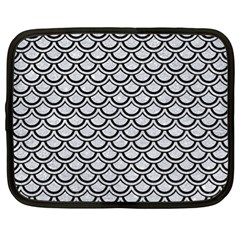 Scales2 Black Marble & Silver Glitter Netbook Case (xl)