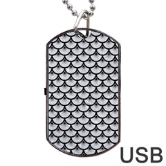 Scales3 Black Marble & Silver Glitter Dog Tag Usb Flash (one Side) by trendistuff