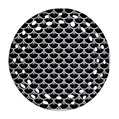 Scales3 Black Marble & Silver Glitter (r) Round Filigree Ornament (two Sides) by trendistuff