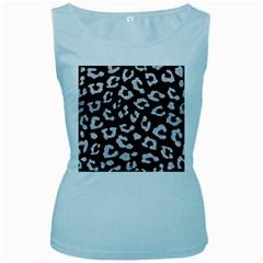 Skin5 Black Marble & Silver Glitter Women s Baby Blue Tank Top by trendistuff