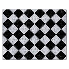 Square2 Black Marble & Silver Glitter Rectangular Jigsaw Puzzl by trendistuff