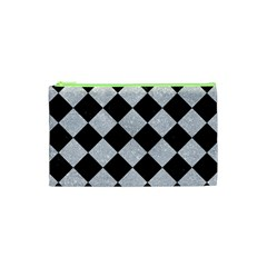 Square2 Black Marble & Silver Glitter Cosmetic Bag (xs)
