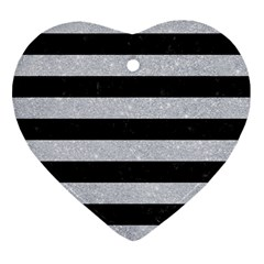 Stripes2 Black Marble & Silver Glitter Heart Ornament (two Sides) by trendistuff