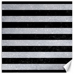Stripes2 Black Marble & Silver Glitter Canvas 16  X 16   by trendistuff
