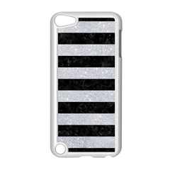 Stripes2 Black Marble & Silver Glitter Apple Ipod Touch 5 Case (white) by trendistuff