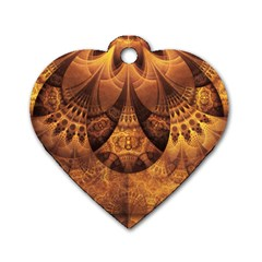 Beautiful Gold And Brown Honeycomb Fractal Beehive Dog Tag Heart (one Side) by jayaprime