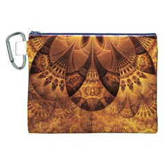 Beautiful Gold And Brown Honeycomb Fractal Beehive Canvas Cosmetic Bag (xxl) by beautifulfractals