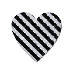 Stripes3 Black Marble & Silver Glitter Heart Magnet by trendistuff