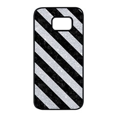 Stripes3 Black Marble & Silver Glitter Samsung Galaxy S7 Edge Black Seamless Case